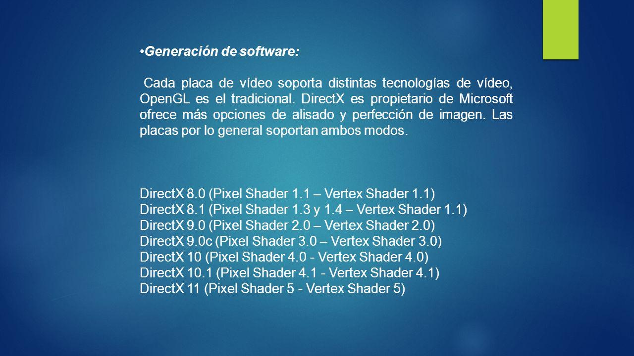 Generación de software: Cada placa de vídeo soporta distintas tecnologías de vídeo, OpenGL es el tradicional. DirectX es propietario de Microsoft ofre