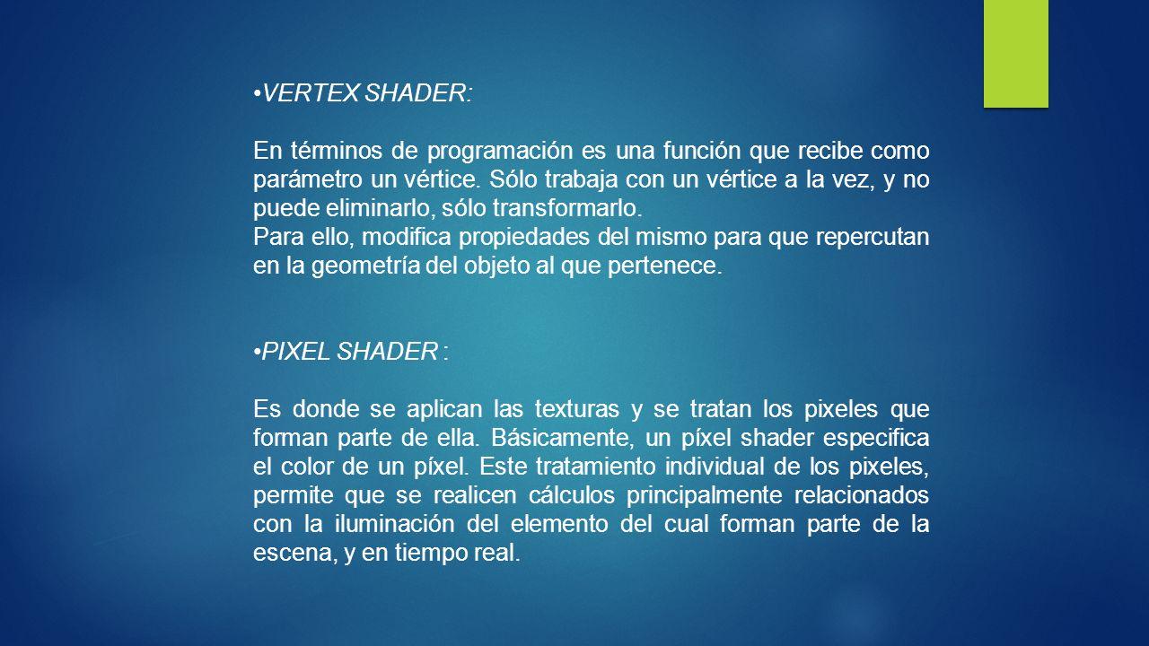 VERTEX SHADER: En términos de programación es una función que recibe como parámetro un vértice. Sólo trabaja con un vértice a la vez, y no puede elimi