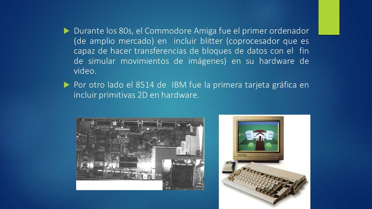 Durante los 80s, el Commodore Amiga fue el primer ordenador (de amplio mercado) en incluir blitter (coprocesador que es capaz de hacer transferencias de bloques de datos con el fin de simular movimientos de imágenes) en su hardware de video.