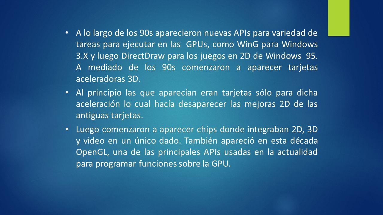A lo largo de los 90s aparecieron nuevas APIs para variedad de tareas para ejecutar en las GPUs, como WinG para Windows 3.X y luego DirectDraw para los juegos en 2D de Windows 95.