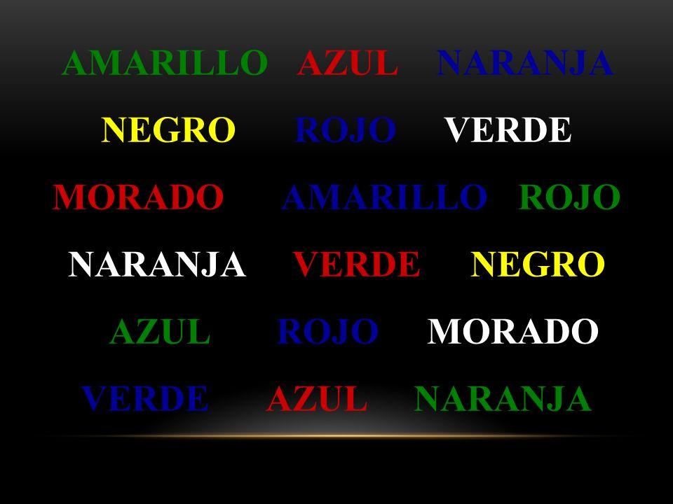 Trate de decir, lo más rápido que pueda y a media voz, el color en que están escritas las siguientes palabras Diga el color, no la palabra Ok??? EJERC