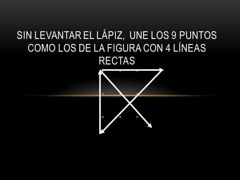 ... OTRA : SIN LEVANTAR EL LÁPIZ, UNE LOS 9 PUNTOS COMO LOS DE LA FIGURA CON 4 LÍNEAS RECTAS