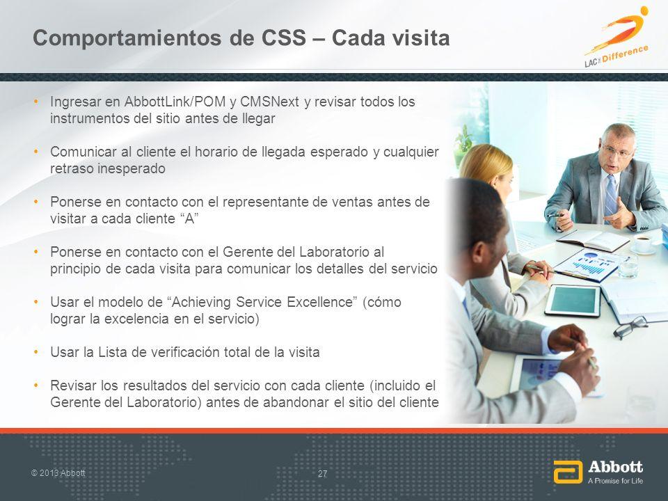 Comportamientos de CSS – Cada visita Ingresar en AbbottLink/POM y CMSNext y revisar todos los instrumentos del sitio antes de llegar Comunicar al clie