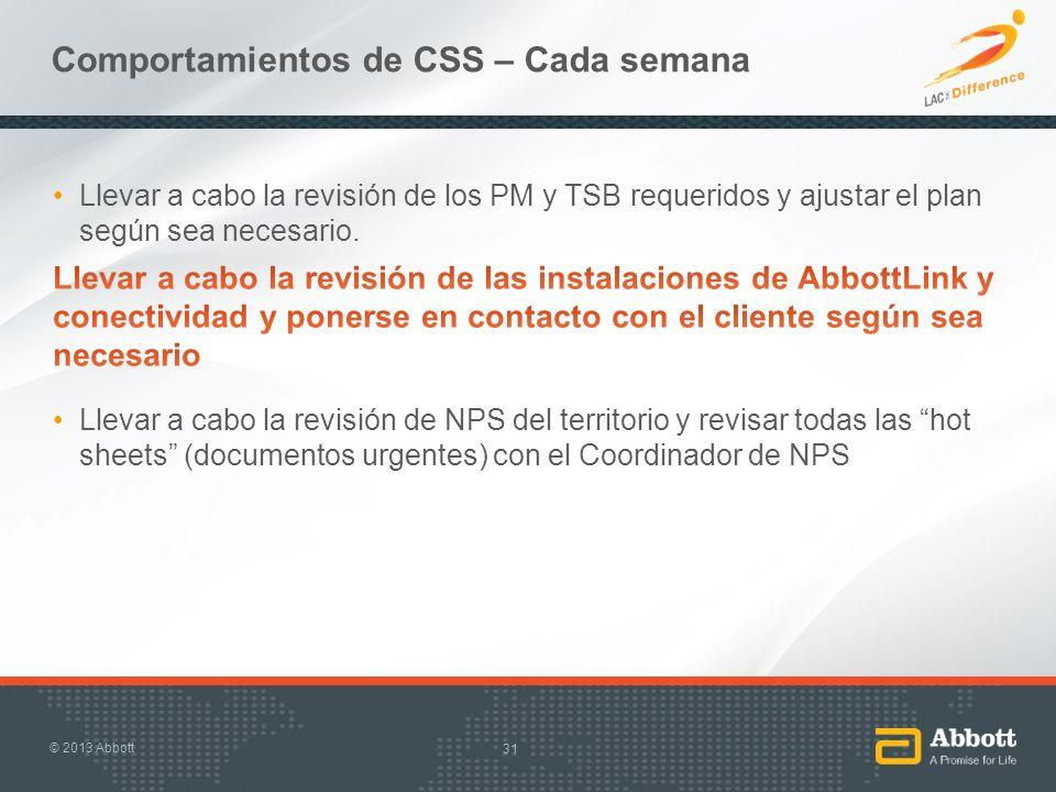 Comportamientos de CSS – Cada semana 31 © 2013 Abbott
