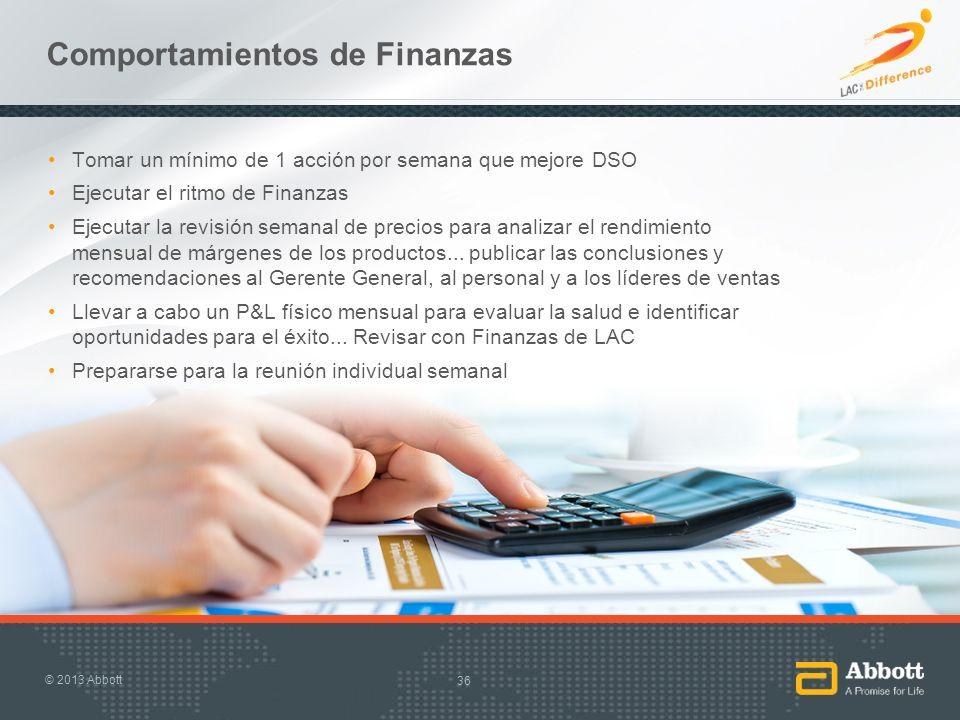 Comportamientos de Finanzas Tomar un mínimo de 1 acción por semana que mejore DSO Ejecutar el ritmo de Finanzas Ejecutar la revisión semanal de precio
