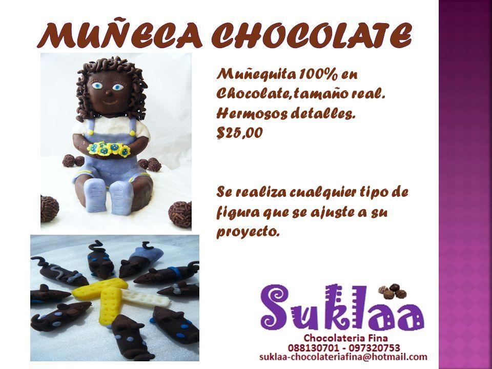 Muñequita 100% en Chocolate, tamaño real. Hermosos detalles. $25,00 Se realiza cualquier tipo de figura que se ajuste a su proyecto.