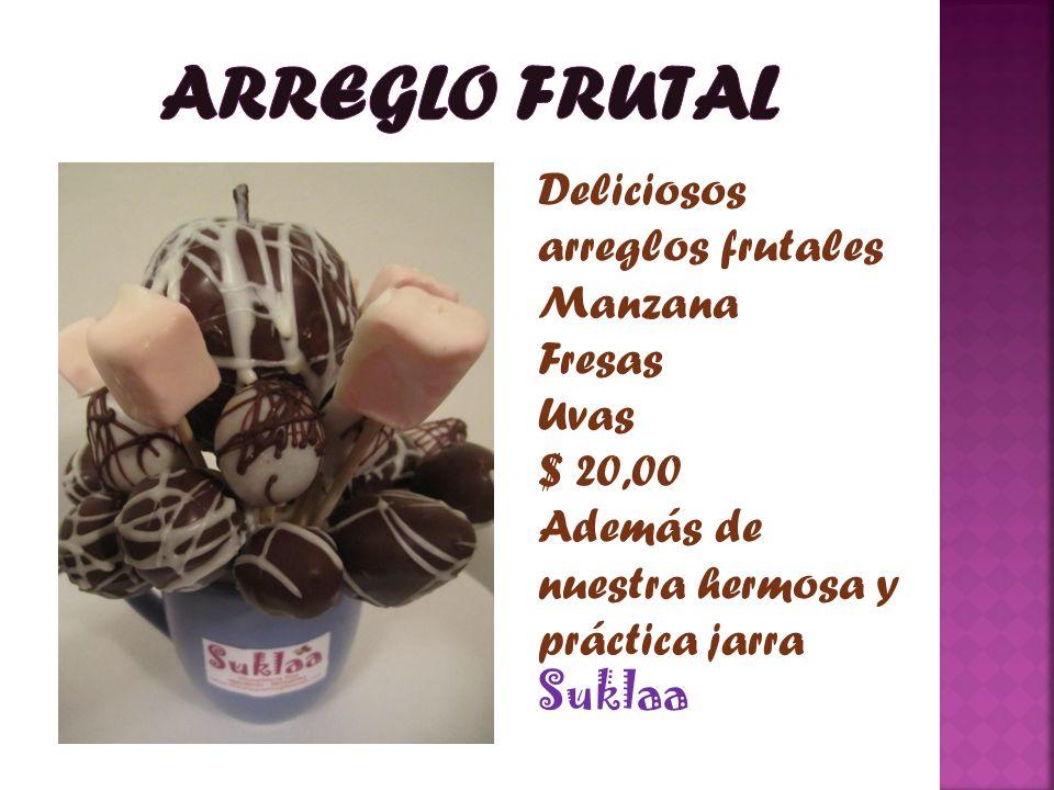 Deliciosos arreglos frutales Manzana Fresas Uvas $ 20,00 Además de nuestra hermosa y práctica jarra Suklaa