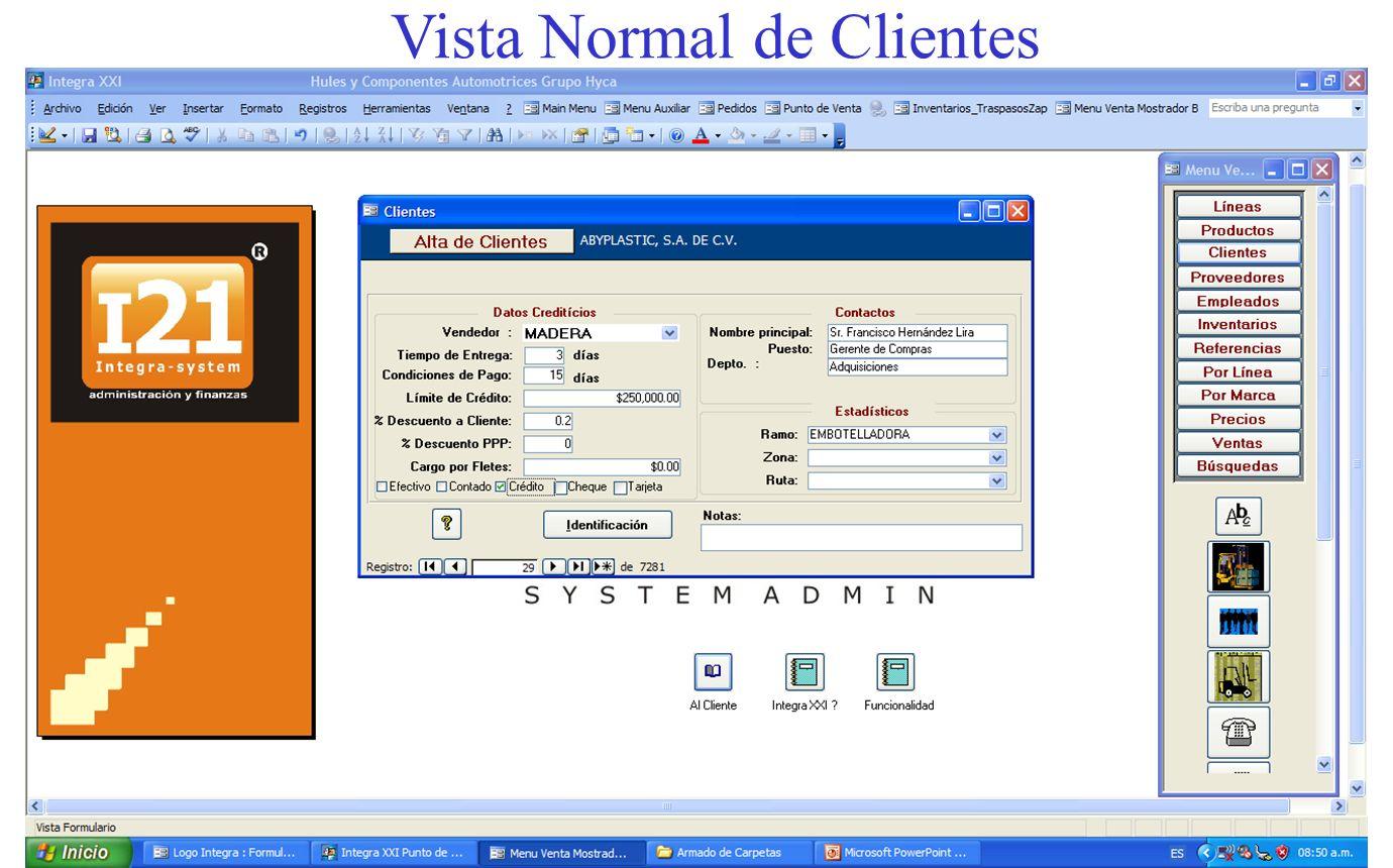Vista Normal de Clientes