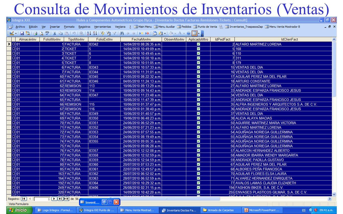 Consulta de Movimientos de Inventarios (Ventas)