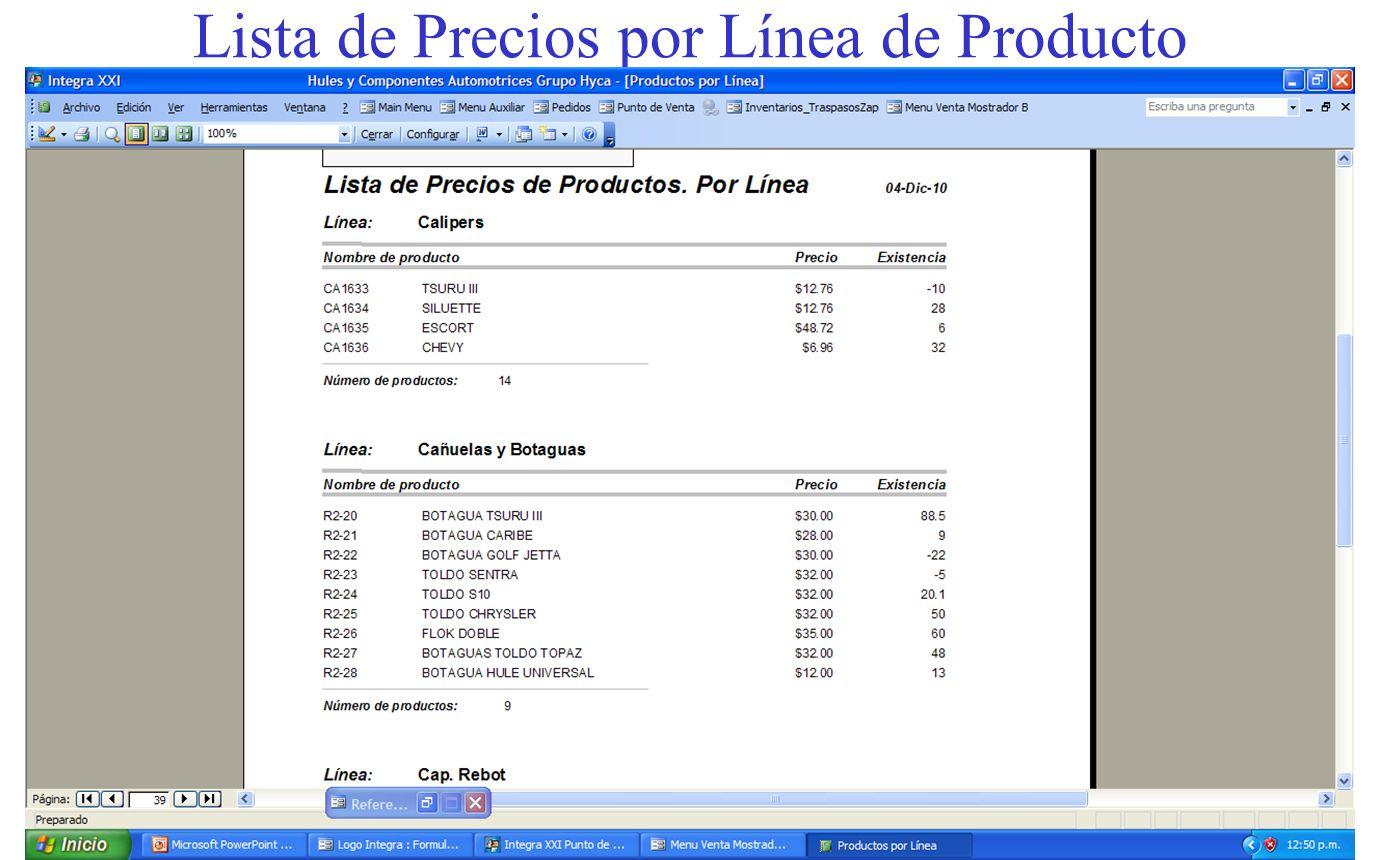 Lista de Precios por Línea de Producto