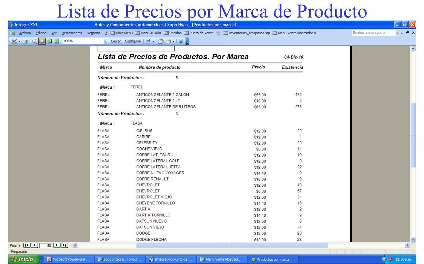Lista de Precios por Marca de Producto