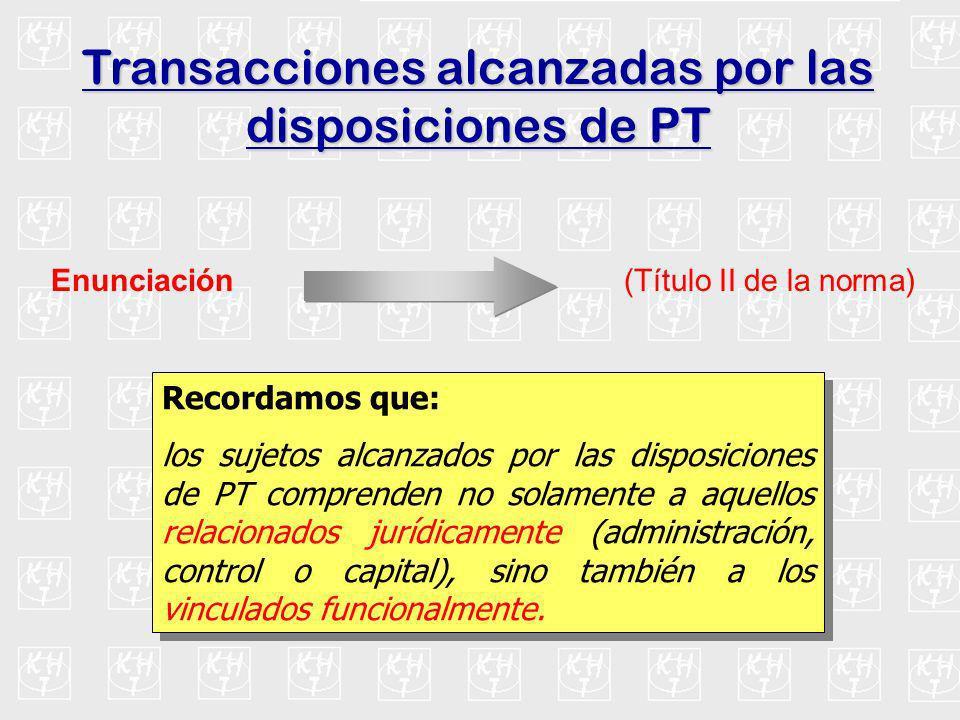 Transacciones alcanzadas por las disposiciones de PT Enunciación (Título II de la norma) Recordamos que: los sujetos alcanzados por las disposiciones