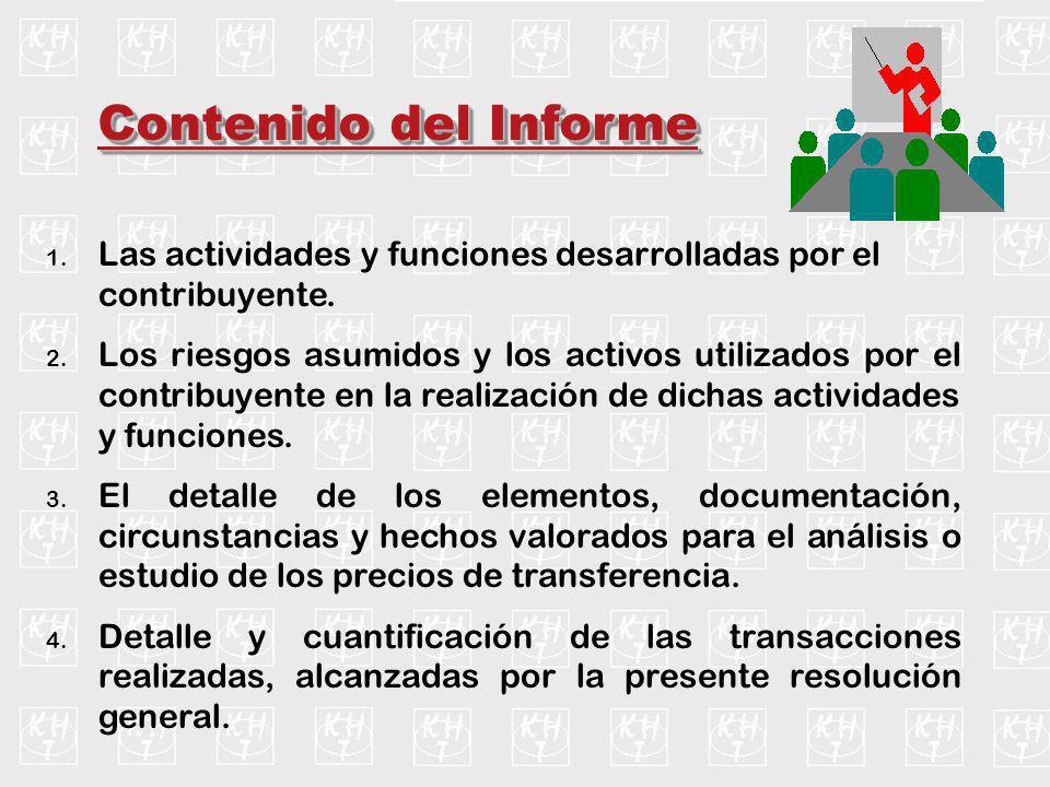 1. Las actividades y funciones desarrolladas por el contribuyente. 2. Los riesgos asumidos y los activos utilizados por el contribuyente en la realiza