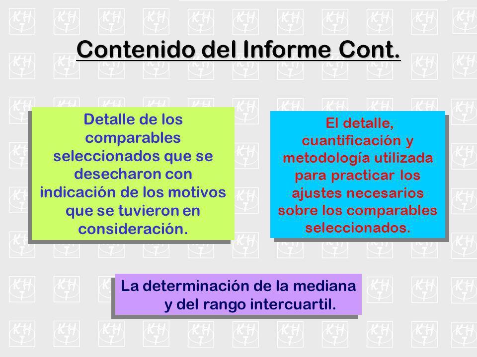 La determinación de la mediana y del rango intercuartil. Contenido del Informe Cont. Detalle de los comparables seleccionados que se desecharon con in
