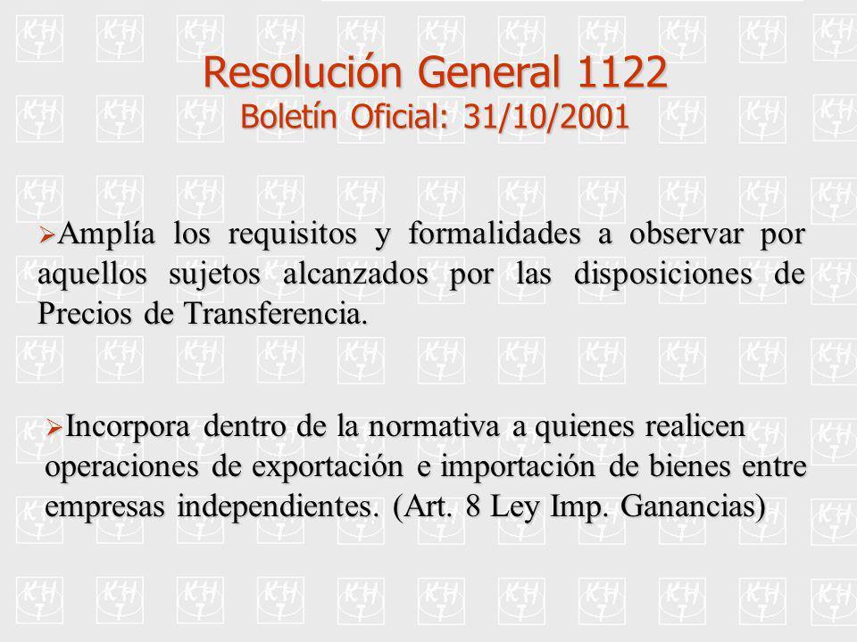 Resolución General 1122 Boletín Oficial: 31/10/2001 Amplía los requisitos y formalidades a observar por aquellos sujetos alcanzados por las disposicio