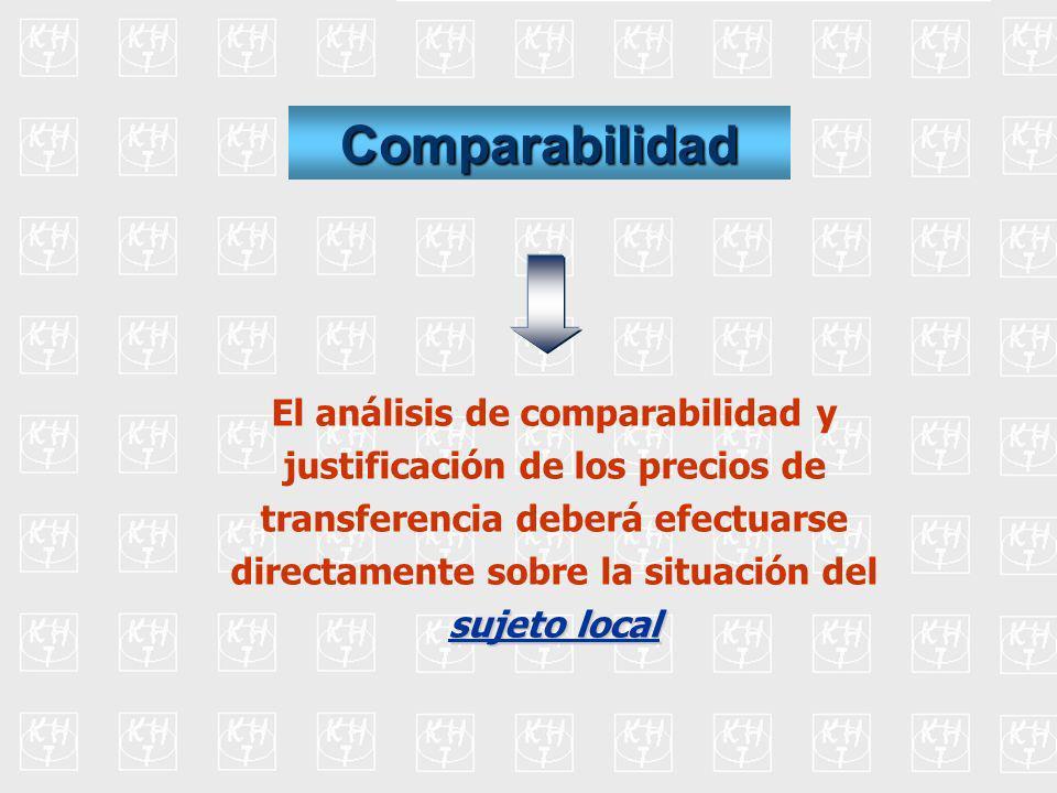 Comparabilidad El análisis de comparabilidad y justificación de los precios de transferencia deberá efectuarse directamente sobre la situación del suj