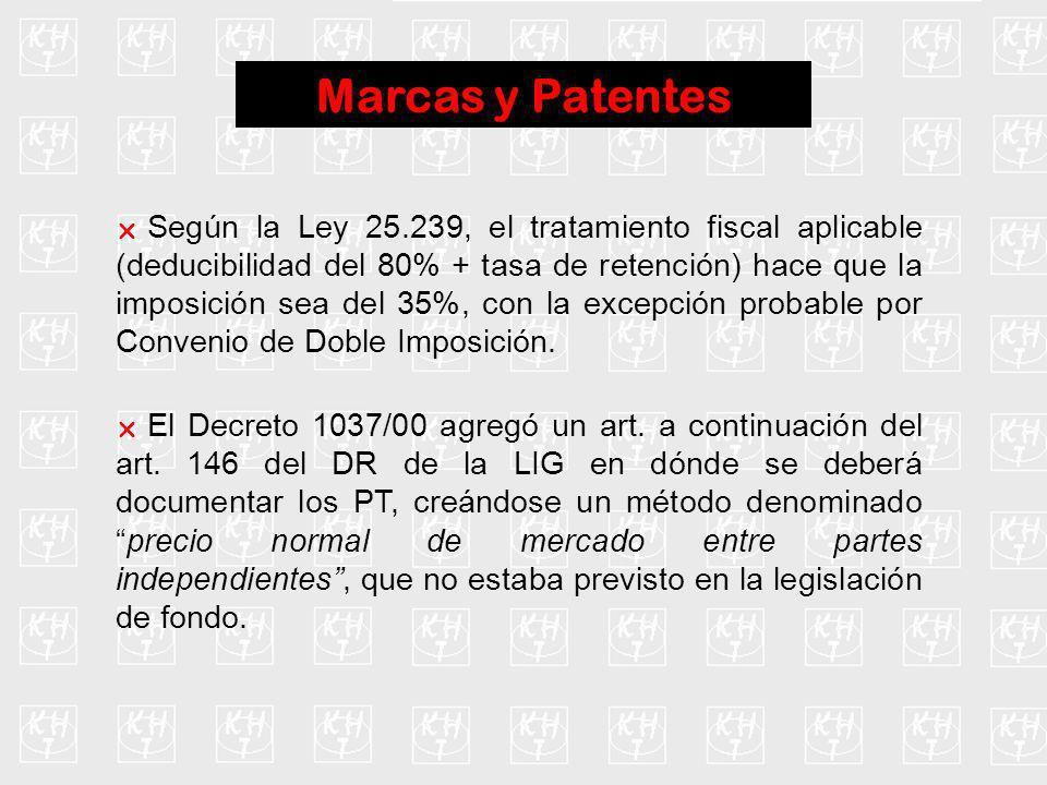 Marcas y Patentes Según la Ley 25.239, el tratamiento fiscal aplicable (deducibilidad del 80% + tasa de retención) hace que la imposición sea del 35%,