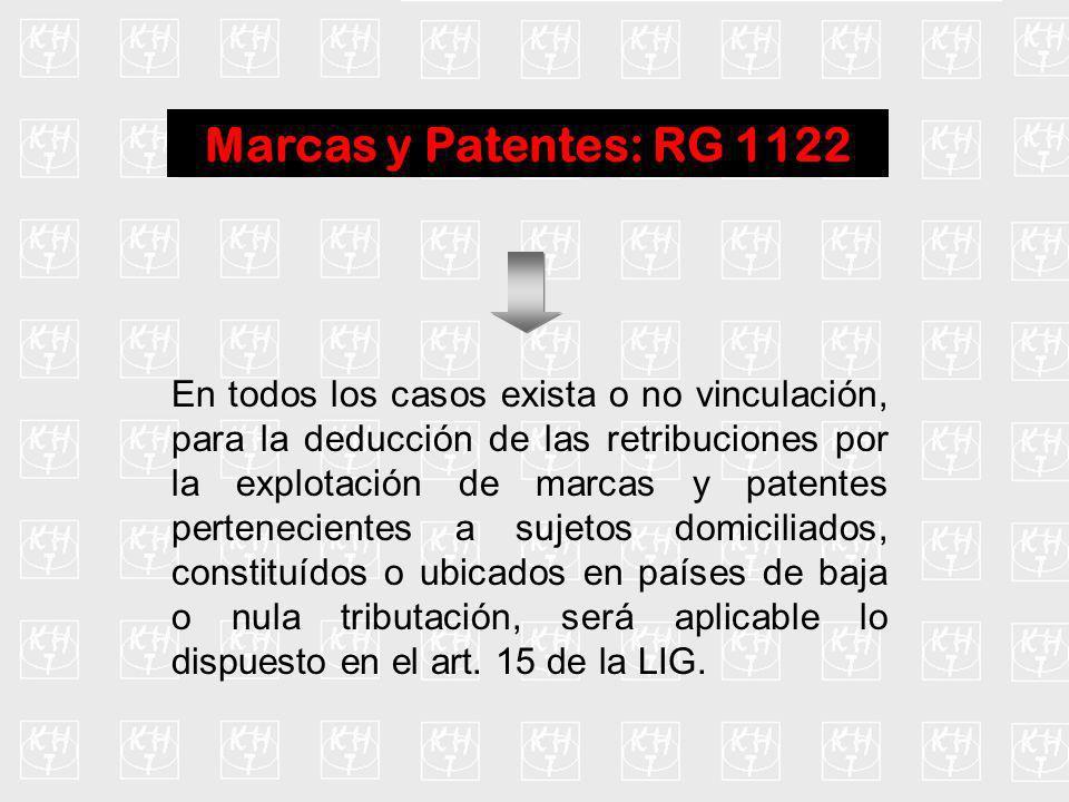 Marcas y Patentes: RG 1122 En todos los casos exista o no vinculación, para la deducción de las retribuciones por la explotación de marcas y patentes