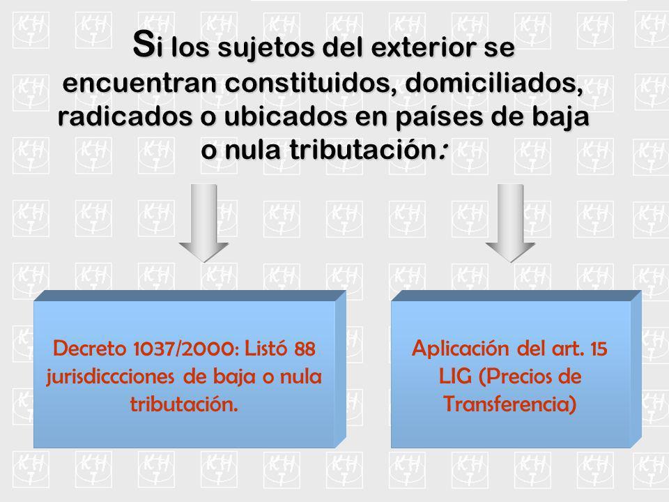 S i los sujetos del exterior se encuentran constituidos, domiciliados, radicados o ubicados en países de baja o nula tributación: Decreto 1037/2000: L