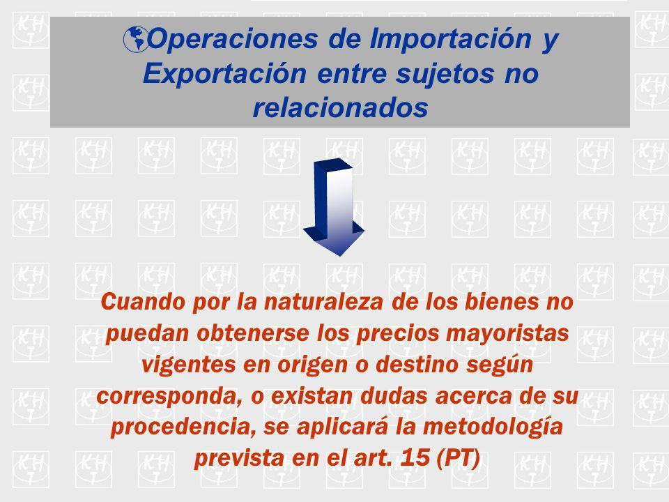 Operaciones de Importación y Exportación entre sujetos no relacionados Cuando por la naturaleza de los bienes no puedan obtenerse los precios mayorist