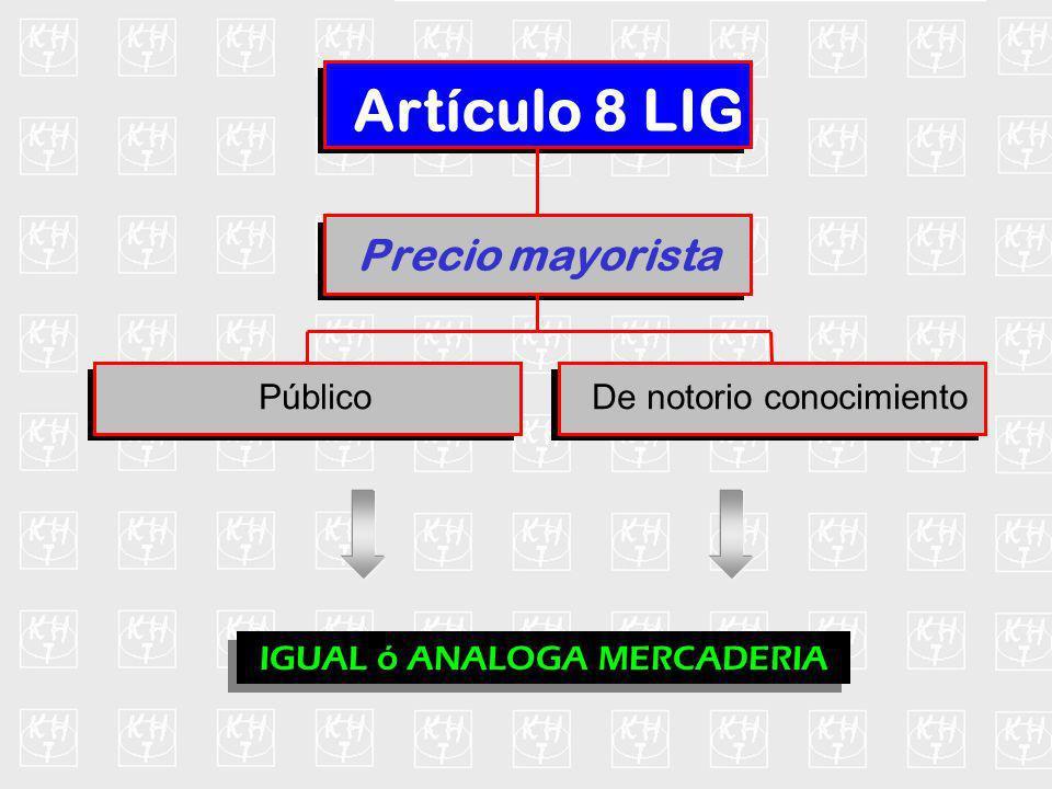 PúblicoDe notorio conocimiento Precio mayorista Artículo 8 LIG IGUAL ó ANALOGA MERCADERIA