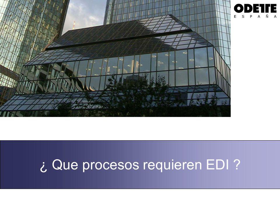 Procesos abarcados por el EDI La pregunta ¿ Qué procesos requieren EDI .