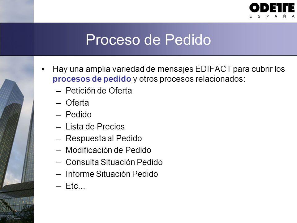 Proceso de Pedido Hay una amplia variedad de mensajes EDIFACT para cubrir los procesos de pedido y otros procesos relacionados: –Petición de Oferta –O