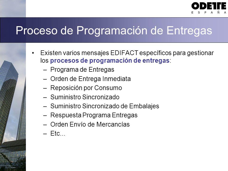Proceso de Programación de Entregas Existen varios mensajes EDIFACT específicos para gestionar los procesos de programación de entregas: –Programa de