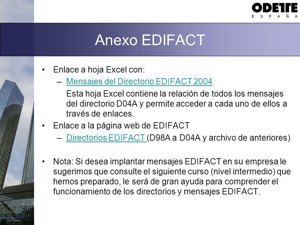 Anexo EDIFACT Enlace a hoja Excel con: –Mensajes del Directorio EDIFACT 2004Mensajes del Directorio EDIFACT 2004 Esta hoja Excel contiene la relación