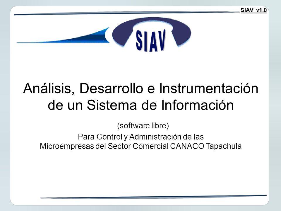 SIAV v1.0 Análisis, Desarrollo e Instrumentación de un Sistema de Información (software libre) Para Control y Administración de las Microempresas del Sector Comercial CANACO Tapachula