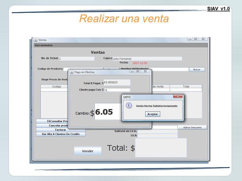 SIAV v1.0 Realizar una venta