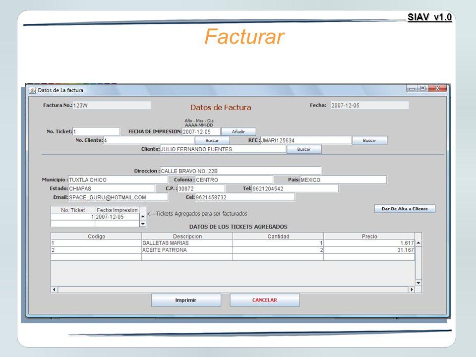 SIAV v1.0 Facturar