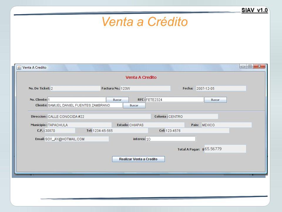 SIAV v1.0 Venta a Crédito
