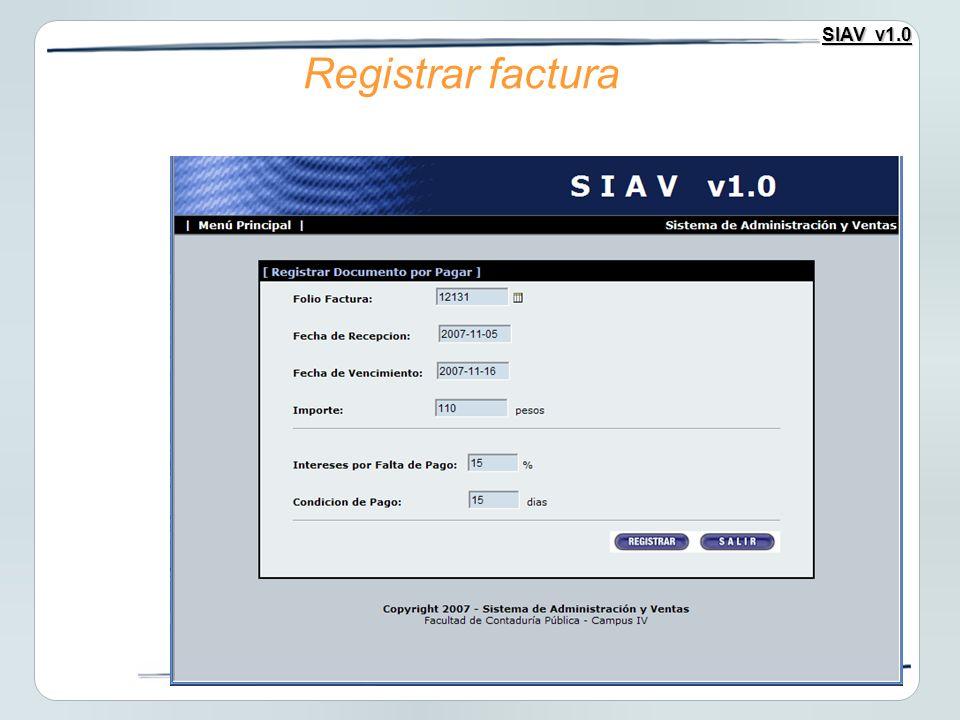 SIAV v1.0 Registrar factura