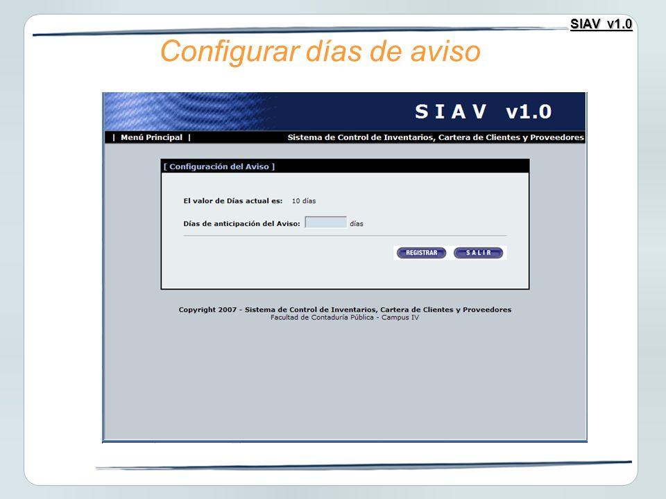 SIAV v1.0 Configurar días de aviso