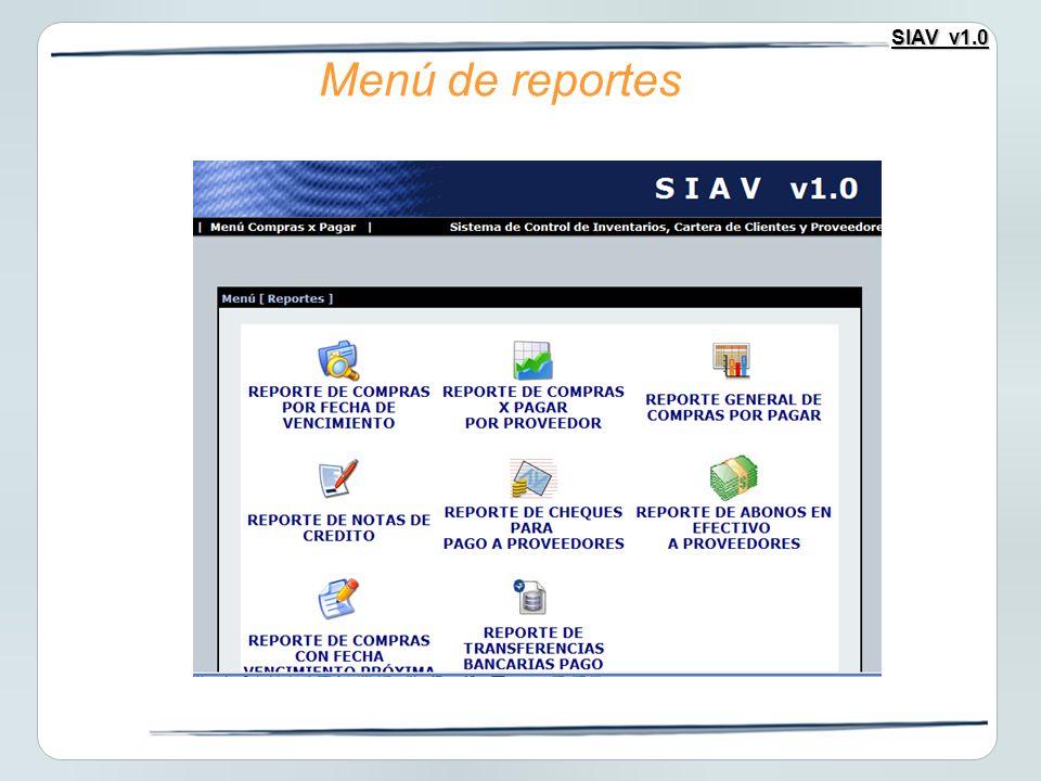 SIAV v1.0 Menú de reportes