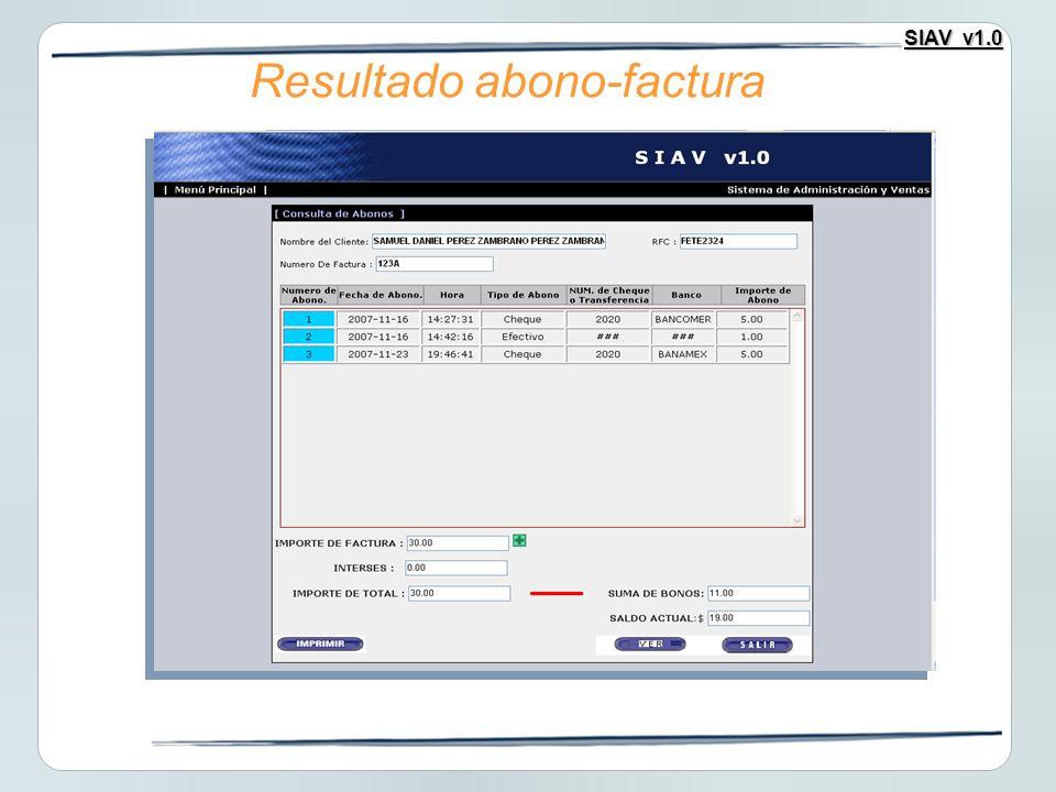 SIAV v1.0 Resultado abono-factura