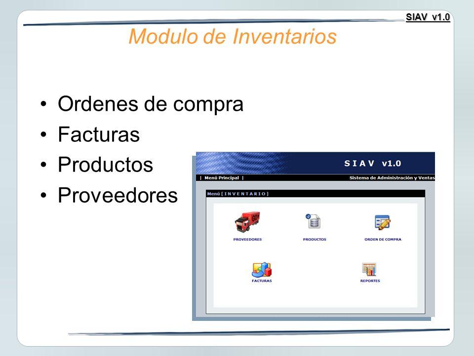Modulo de Inventarios Ordenes de compra Facturas Productos Proveedores