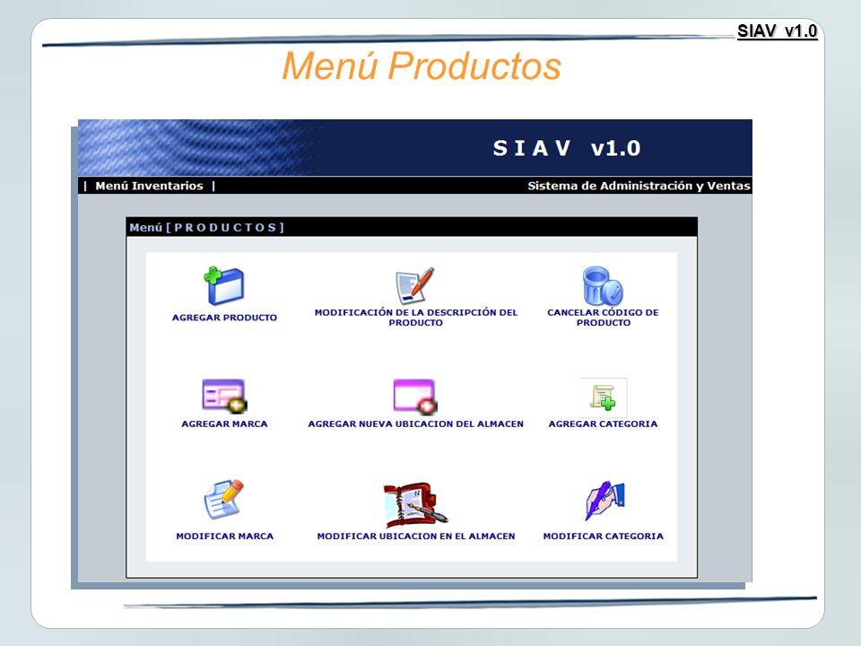 SIAV v1.0 Menú Productos