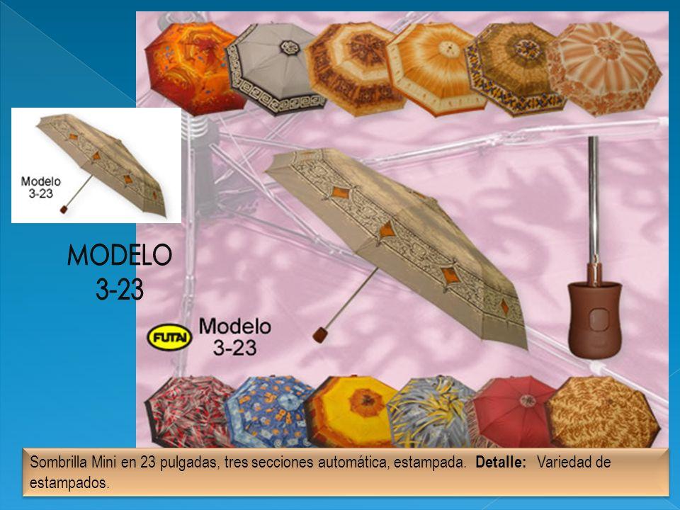 Sombrilla Mini en 23 pulgadas, tres secciones automática, estampada. Detalle: Variedad de estampados.