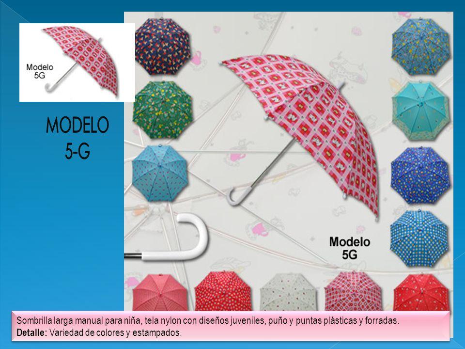 Sombrilla larga manual para niña, tela nylon con diseños juveniles, puño y puntas plásticas y forradas. Detalle: Variedad de colores y estampados. Som