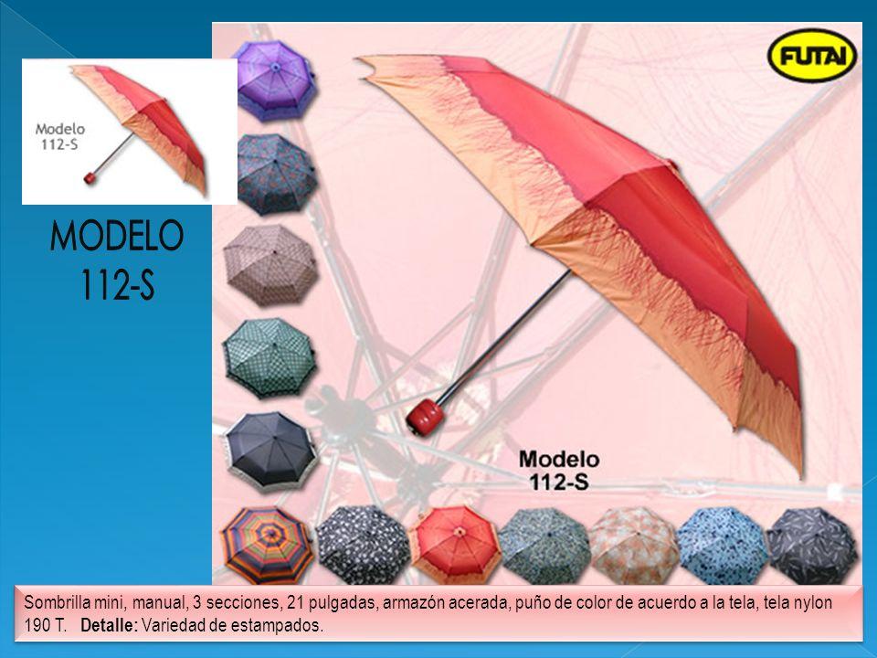 Sombrilla mini, manual, 3 secciones, 21 pulgadas, armazón acerada, puño de color de acuerdo a la tela, tela nylon 190 T. Detalle: Variedad de estampad