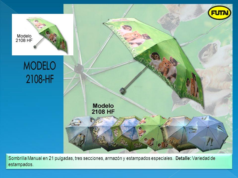 Sombrilla Manual en 21 pulgadas, tres secciones, armazón y estampados especiales. Detalle: Variedad de estampados.