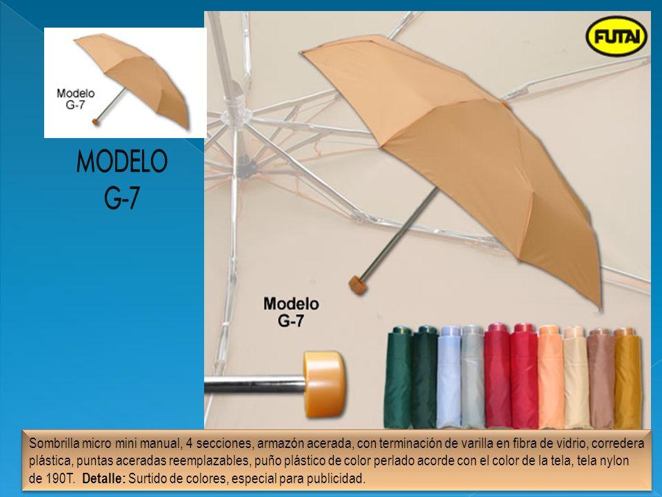 Sombrilla micro mini manual, 4 secciones, armazón acerada, con terminación de varilla en fibra de vidrio, corredera plástica, puntas aceradas reemplaz