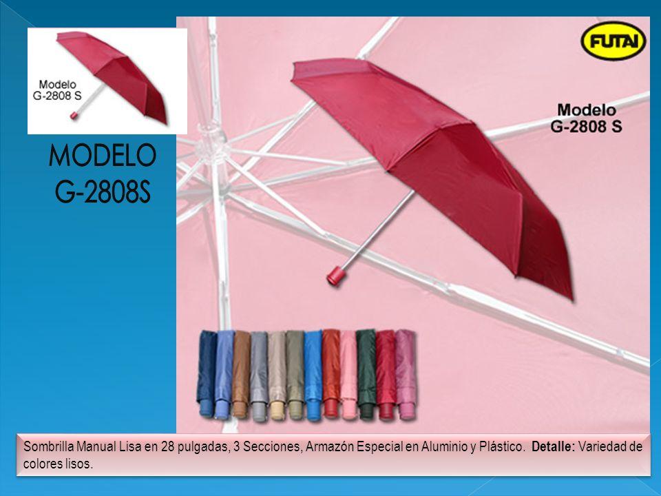 Sombrilla Manual Lisa en 28 pulgadas, 3 Secciones, Armazón Especial en Aluminio y Plástico. Detalle: Variedad de colores lisos.