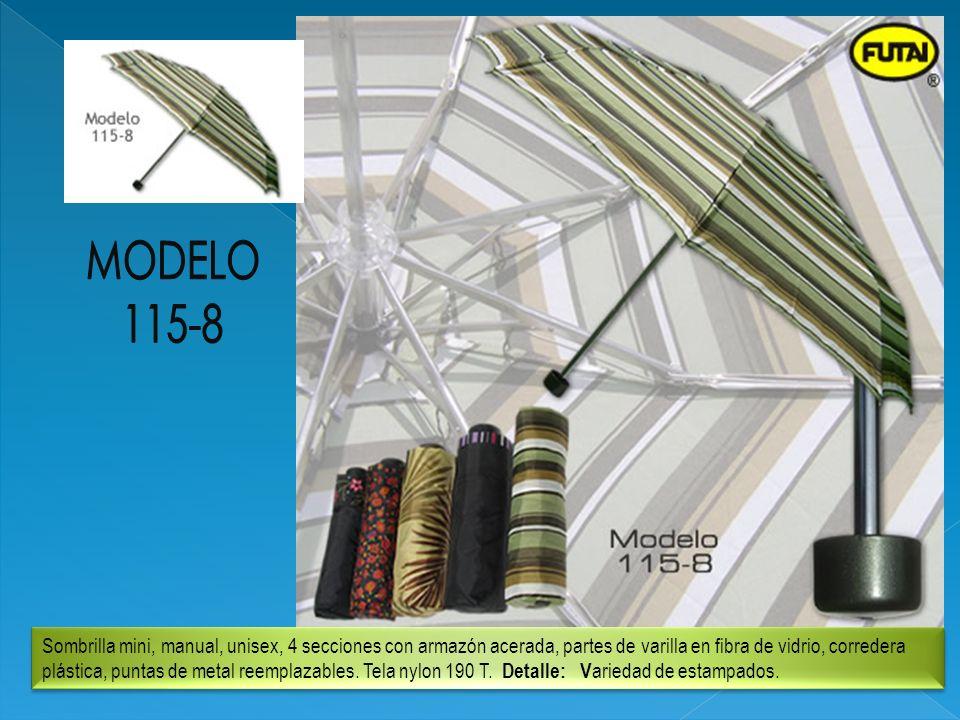 Sombrilla mini, manual, unisex, 4 secciones con armazón acerada, partes de varilla en fibra de vidrio, corredera plástica, puntas de metal reemplazabl