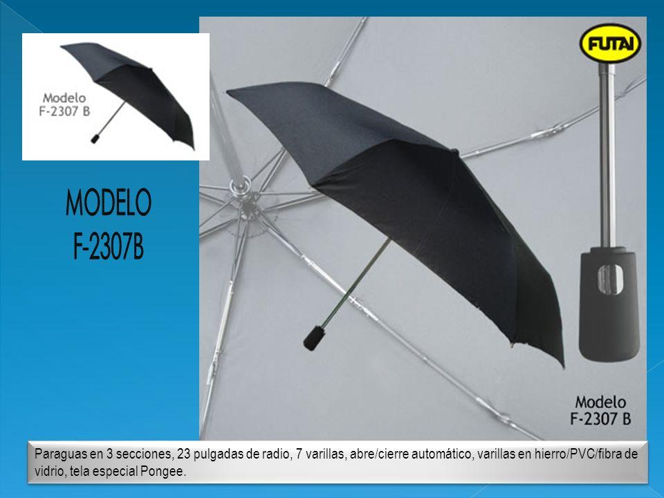 Paraguas en 3 secciones, 23 pulgadas de radio, 7 varillas, abre/cierre automático, varillas en hierro/PVC/fibra de vidrio, tela especial Pongee.