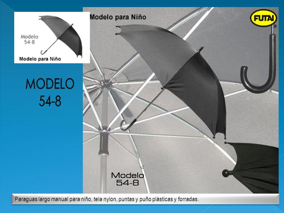Paraguas largo manual para niño, tela nylon, puntas y puño plásticas y forradas.