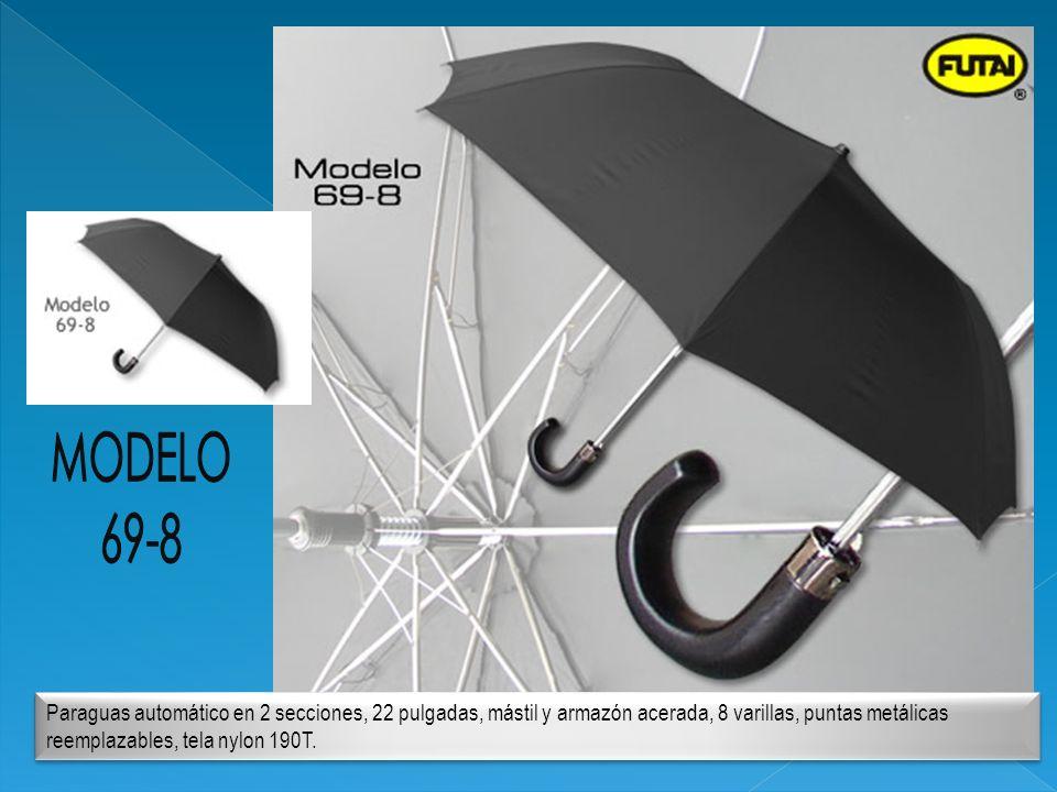 Paraguas automático en 2 secciones, 22 pulgadas, mástil y armazón acerada, 8 varillas, puntas metálicas reemplazables, tela nylon 190T.