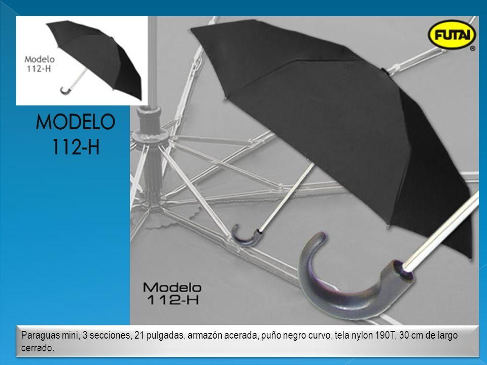 Paraguas mini, 3 secciones, 21 pulgadas, armazón acerada, puño negro curvo, tela nylon 190T, 30 cm de largo cerrado.